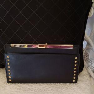 Zara Woman Black Leather Studded Clutch